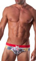 Geronimo Mens Swimwear Low Rise Brief Trunks Floral Grey 15042